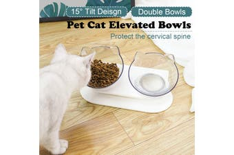 Pet Cat Elevated 15° Tilt Double Food Bowls With Stand Feeding & Watering Feeder(transparent)(Double Bowl)