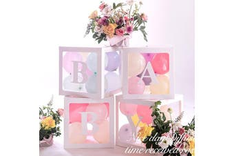 【white baby box 】DIY Transparent Box Latex Balloon BABY LOVE Blocks for Boy Girl Baby Shower Wedding Birthday Party Decoration Backdrop(white)(BABY)