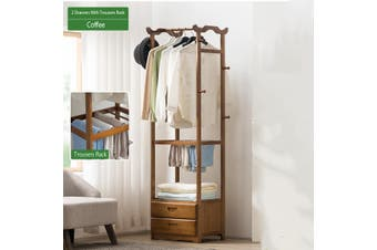 2/3 Wooden Drawer 8 Hooks Tree Coat Rack Clothes Hanging Stand Storage Holder Home Bathroom(A)