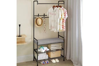 Standing Hanger Multi Purpose Hanger Clothes Hat Shoes Tower Rack Clothe Rail Stand Shelf w/ hooks Anti-Rust 64x34x14cm