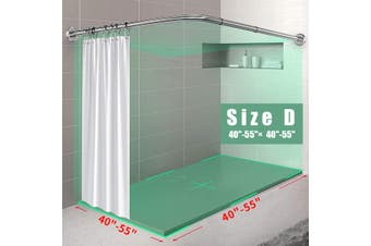 Stainless Steel Adjustable Curved Shower Curtain Rod Home Bathroom Bars Rail Rod【Only Rod】(Size D)