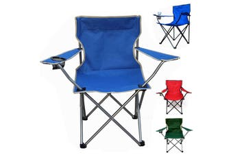 Portable Fishing Camping Chair Seat Cup Holder Beach Picnic Outdoor Folding Bag(blue)