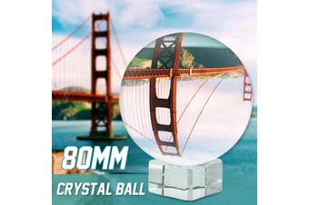 80mm Clear Crystal Glass Ball Photo Prop Photography DIY Home Decor Accessory