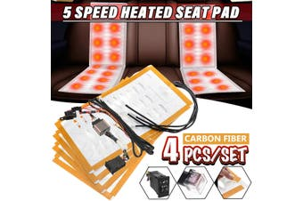 4pcs 12V Carbon Fiber Universal Car Heated Seat Pads 5-Level
