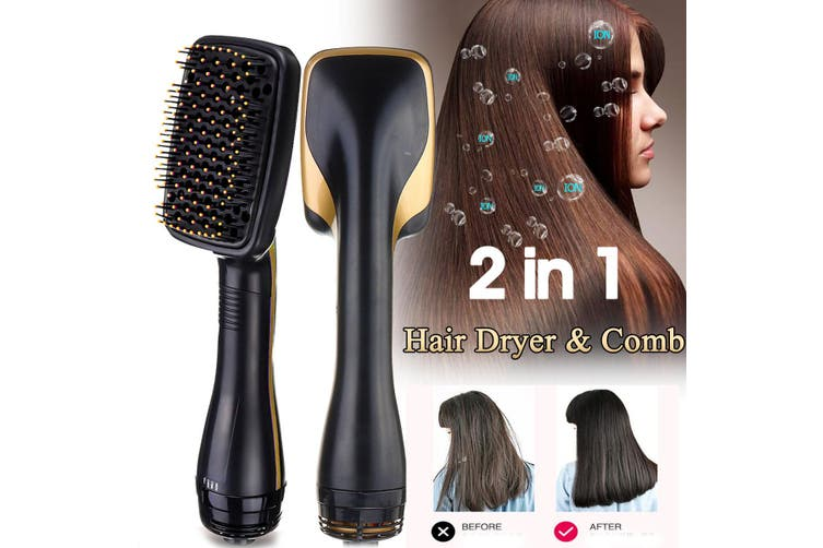 Professional 2 in 1 Hot Hair Dryer Comb Nega Ion Smooth Brush Styler One Step(gold)(EU Plug)