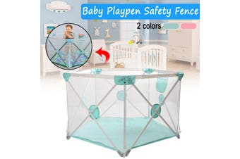 Baby Playpen Safety Fence Pen Portable Infant Kids Pet Playard Travel Indoor(blue)