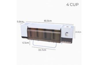 Wall-mounted Stick Toothbrush Holders Bathroom Paste Toothbrush Rack Multifunction Storage Towel Rack 2-4 Grid(4 cup)