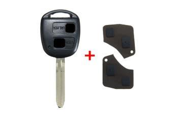 2 Button Remote Key Fob Shell Case Pad For Toyota RAV4 Camry Corolla Prado(1x)