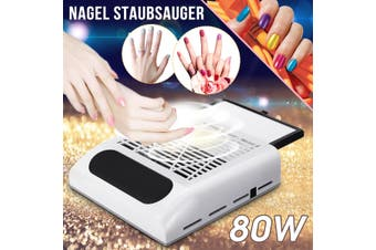 80W Nail Dust Remover Suction Collector Manicure Machine Nails Vacuum Cleaner(white)(EU Plug)