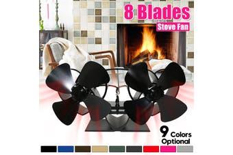 "5"" Double Head 4 Blades Wood Stove Fan Burner Heat Power Fireplace Saving Ecofan(black)(Stove Fan With Thermometer)"