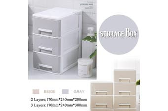 Large Plasic Makeup Box Organizer Desk Bathroom Cosmeic Sorage Drawer Case Jewellery Earing Storage Box(beige)(3 Layers 170x240x300mm)