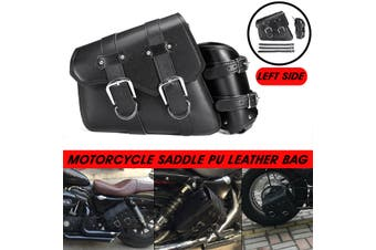 Universal Motorcycle Saddle Bag PU Leather Waterproof Black For Harley Davidson (Left)(left)