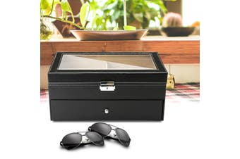 12 Slot Black Oversized Eyeglass Sunglass Glasses Organizer Storage Display Case(12 Grids)