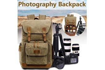 Premium Vintage Photography Camera Bag Water-proof Backpack SLR Canvas fashion Large Bag(khaki)(Khaki)