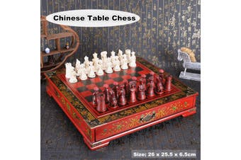 26 x 25.5 x 6.5cm Antique Vintage Wooden Chinese Style Chess Board Table Games Set Pieces Gift