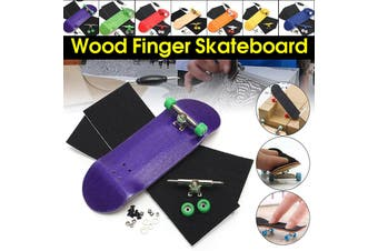 32mm Basic Complete Wooden Fingerboard Grit Box Foam Tape Set 7 Wood Colours Kit(purple)