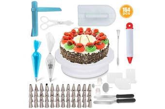 164PCS Pcs/Set Professional Complete Cake Decorating Turntable Baking Nozzle Sets Cream Pastry Icing Piping Tool Fondant Confectionery Tip Spout Tool Baking Supplies(164PCS)