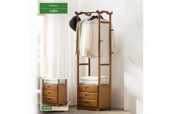 8 Hooks Simple Coat Rack Solid Wood Bedroom Hanging Racks Simple Modern Floor Clothes Storage 2/3 Drawer(D)