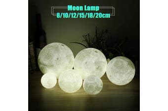 Novelty Color Changing Full Moon Lamp Wood Rack LED Night Light USB Rechargeable Desk Table Lamps Home Decor 8/10/12/15/18/20cm(multicolor)(8 cm)