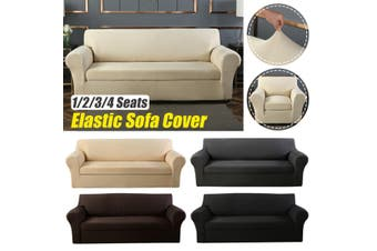 Elastic Stretch Sofa Armchair Cover Solid Color Living Room Couch Slipcover(khaki)(TypeA 2 seats)