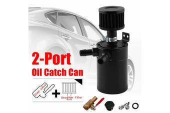 2 Port Baffled Oil Catch Can Tank Pot With Drain Valve Breather Filter Universal