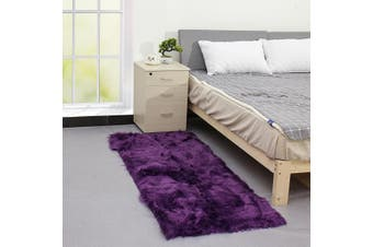 70x180cm Shaggy Fluffy Area Rug Faux Fur Fake Wool Carpet Floor Mat Cushion Pad(purple)(typeB 70X180cm purple)