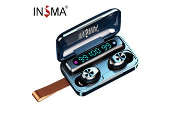 INSMA TWS bluetooth 5.0 Earphones LED Display Sport In-Ear Stereo Headset Earbud(2000mah with Lanyard)