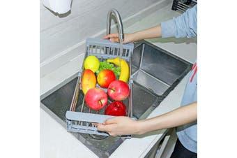 Home Kitchen Organizer Stainless Steel Rack Drain Basket Telescopic Sink Rack Dish Rack Cleaning Fruit Vegetable Cutlery Drainer(grayblue)(L)