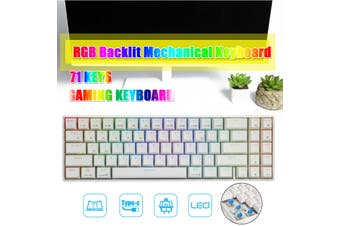 Royal Kludge RK71 71 Keys Dual Mode bluetooth 3.0 + USB Wired RGB Backlit Mechanical Gaming Keyboard(white)(Red Switch)