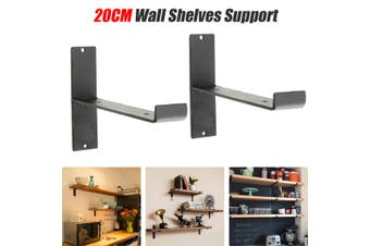 2pcs 20cm Iron Square Shelf Support Retro Industrial Wall Shelves Bracket Holder(black)(2PCS Single Iron Brackets Support)