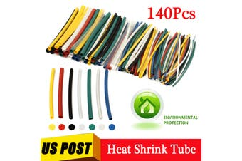 140Pcs Car Electrical Cable Heat Shrink Tube Tubing For Wrap Sleeve Assorted 5 Sizes 7 Colors Polyolefin New Electric Unit Part(140 pcs)