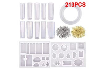213Pcs Resin Casting Mold Kit Silicone For Necklace Jewelry Pendant Craft Making(213Pcs/Set)