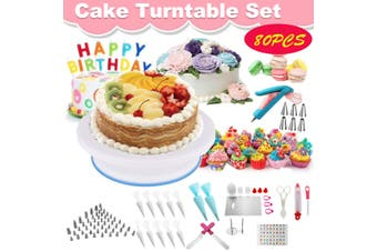 80PCS Cake Turntable Decorating Tool Set Nozzle Spatula Supplies Rotating Pastry Tube Fondant Tool(80PCS Set)