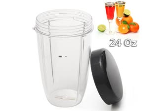 2 Choices 24/32OZ Transparent Juicer Cup Mug With Cover For Nutri Replacement Preservative Cover Plastic(transparent)(24 oz)