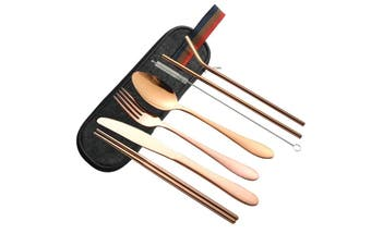 8PCS/Set Stainless Steel Cutlery Set Travel Picnic School Tableware W/ Carry Bag(rosegold)(Black Storage Bag)