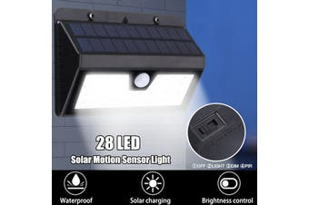 Solar Power PIR Motion Sensor Wall Light,Outdoor Garden 28LED Waterproof Lamp Night Lighting(black)(28 led)
