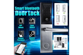WiFi Bluetooth Silver Cipher Remote Smart Door Lock Cell Phone Key Password Card(silver)(Type B Right inside)
