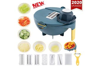 9IN1 Magic Multifunctional Rotate Vegetables Cutter With Drain Basket Kitchen Veggie Fruit Shredder Grater Slicer(blue)(Only Drain Basket NO Blades)