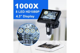 "1000X 4.3"" LCD Screen Digital Video Electronic Microscope 8 LED light For Repair(battery 24keys 1m)"