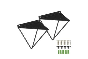 2Pcs Metal Heavy Duty Shelf Brackets Wall Mount Shelf Hung Rack Plank Holder(black)