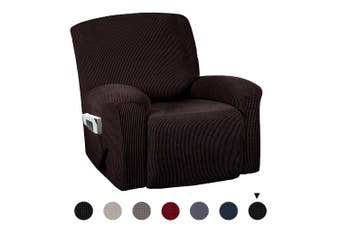 Stretch Recline Chair Cover Slipcover Washable Furniture Cover Protector(brown)(1pc)
