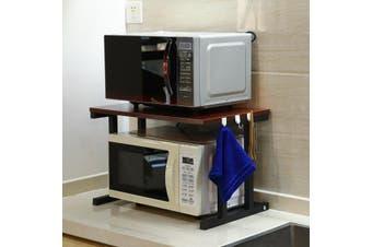6 Hooks + 2 Tier Microwave Kitchen Storage Shelf Rack Oven Stand Wood Bracket(Deep walnut)