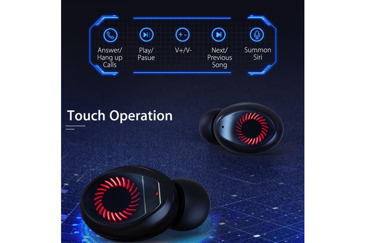 TWS bluetooth 5.0 Sport Earphone 3 LED Power Display Waterproof Stereo Headphone(black)(D 3 LED Power Display)