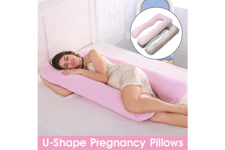 2 Colors Multifunction Maternity Pillow Case Cotton Cover U-Type for Pregnancy Women Nursing Gifts -- Grey / Pink(pink)