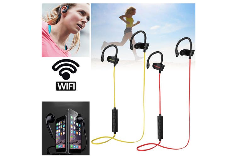 bluetooth 4.1 Wireless Headphone Sports Neckband Wifi Earphone Stereo Headset Waterproof For IPhone for Samsung for LG(yellow)