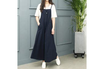 ZANZEA Women Cotton Sleeveless Jumpsuits Rompers Wide Leg Casual Baggy Trousers Plus(navy)(5XL)