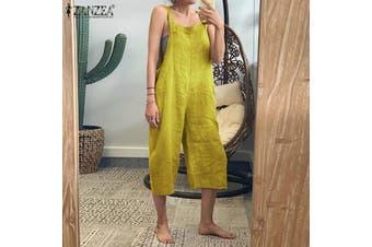 ZANZEA Womens Sleeveless Wide Leg Jumpsuits Ladies Buttons Strap Loose Playsuits(yellow)(5XL)