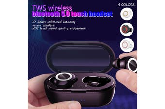 TWS bluetooth 5.0 Headset Wireless Earphones Mini Earbuds Stereo Denoise Waterproof Case Can Charge For The Phone(whitegold)(Binaural Earbuds and Case)