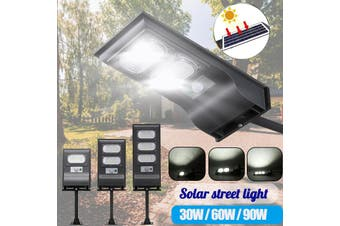 AUGIENB 30W/60W/90W Solar Street Light 30/60/90 LED Solar Lights Outdoor IP67 Waterproof Motion Sensor Solar Flood Light with Holder Dusk to Dawn Security Light for Yard/ Garden/ Street(60LED)