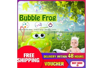 Bubble Frog Crab Automatic Shower Machine Blower Maker Bath Music Toy Kids Baby(green)(normal type)